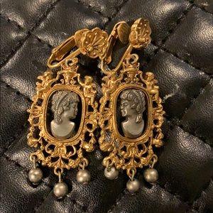 Antique Victorian Revival Cherub Cameo Earrings